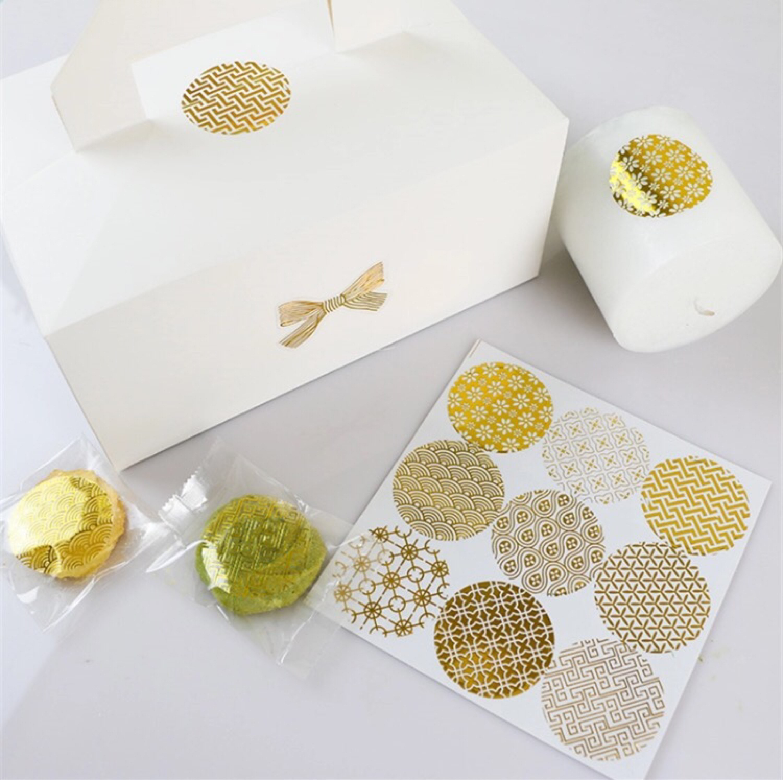 Round Metallic Gold Foil Stickers, Wedding Invitations Favor Labels ...