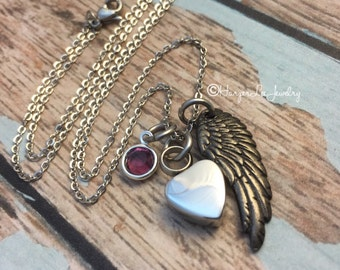 Urn~ Cremation ~ Hand Stamped Heart Necklace ~ Remembrance Jewelry ~ Bereavement Memorial ~ Loss of a loved one ~ I have a guardian angel