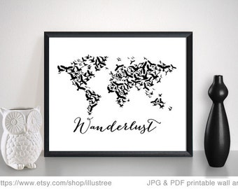 Wanderlust, world map with flying birds, printable wall art, digital art prints, travel poster, nursery decoration, instant download