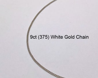 9ct 375 Solid White Gold Trace Link Type Chain Necklace for Pendant Jewellery