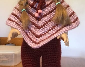 Hand crochet poncho and hat and slacks, shipping included