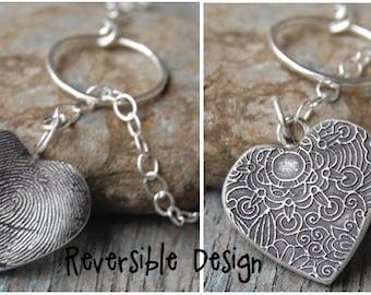 Custom Silver Fingerprint Lariat Style Necklace -:- Reversible Flower Design