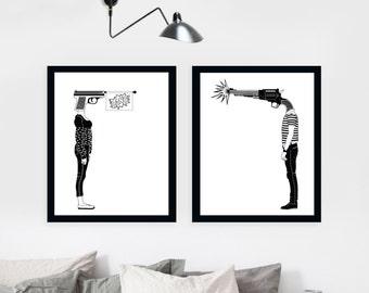 SALE - Set of 2 Prints, Wall Art Prints, Modern Decor, Black and White Prints, Wall Decor, Wall Prints, Home Decor.