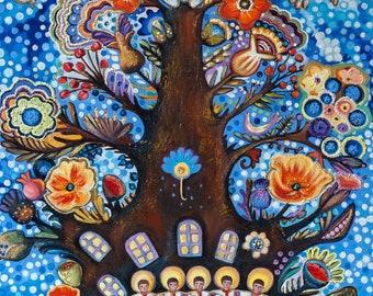Dream Painting, Magic Realism, Mother's Dream, Original Painting, Fish, Maternity, Ukrainian Art