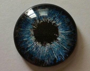 Blue Hand Painted Glass Eye Cabochon 30 mm Round Glass Eye Fantasy Jewelry Supplies Fastasy Steampunk Sci Fi Cosplay Doll Eye