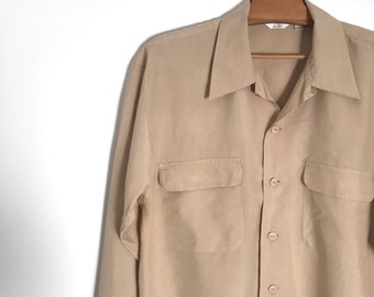 Vintage oatmeal silk blouse / button down shirt / long sleeve ecru blouse / oversized shirt / simple minimalist blouse / s / m / l / 1990s