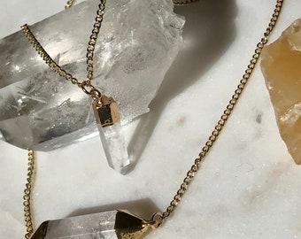 Clear Quartz Double Charm Gold Necklace