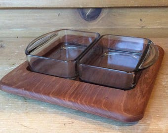Vintage Digsmed Teak Condiment Tray Glass Inserts 1960s Excellent