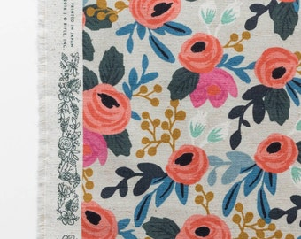 Les Fleurs Canvas Rosa Floral Natural by Anna Bond of Rifle Paper Co. for Cotton + Steel Fabrics 8012-12 - By The Yard