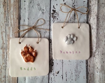 Ceramic Pawprint Tile: Cats/Small Dog size
