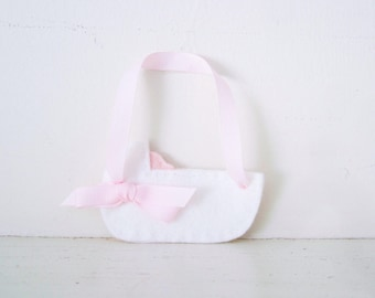 CRADLE - Pink Baby Cradle ORNAMENT - Baby Keepsake - Baby's First Christmas Ornament - Baby Girl Nursery Decor - Pink Baby Shower Decoration