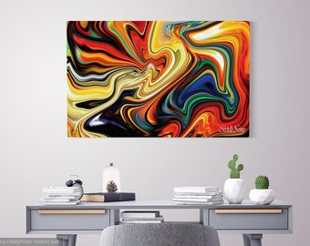 Colorful Wall Art On Canvas, Office Artwork, Colorful Abstract Art, Colorful  Wall Paintings