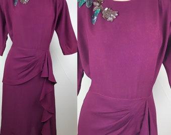Vintage 1940s Raspberry Crepe Dress with Sequin Trim