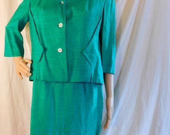 Vintage 1940s Suit Jacket Skirt Blazer Kelly Green Structured Jacket Pencil Skirt Edward Barry Inc Miller Randazzo