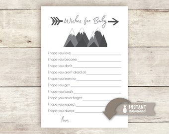 Wishes for Baby Printable - Adventure Mountain Baby Shower Theme - Instant Download
