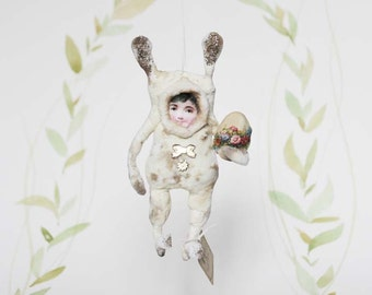 Nostalgic Spun Cotton  Easter Ornament Easter Rabbit Child with Easter egg