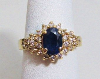 Vintage Ring: Sapphire and Diamonds in 14k Gold