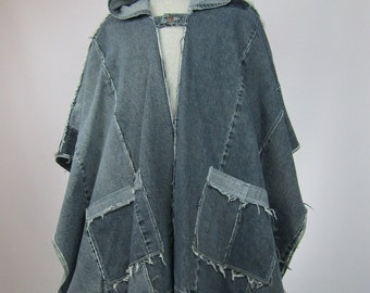 Unisex Denim Poncho Ecofriendly Upcycled Jeans Reconstructed One size fits most