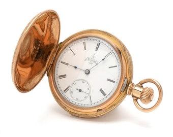 Antique ELGIN POCKET WATCH - Gold-Filled Full Hunting Engraved Pocket Watch Ladies 1890