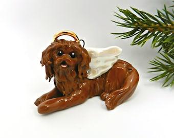 Angel Cavalier King Charles Spaniel Ruby Porcelain Christmas Ornament Figurine Memorial