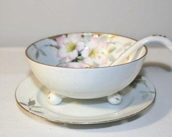 Antique Nippon Mayonnaise Server Set Azalea, Porcelain Serving Bowl Ladle