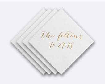 Custom Name and Date Wedding Napkins -  Foil Stamped Napkins