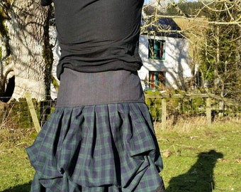 Outlander inspired scottish skirt with laced waist. Made to order with colours of your choice