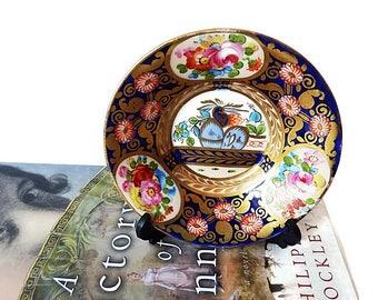 Crown Staffordshire  Small Plate on Stand, Display Oriental Trinket Plate, Vintage Vanity Jewelry Dish