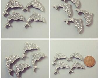 4x laser cut acrylic dolphin cabochons silver glitter