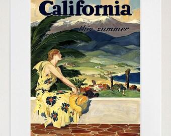 California Travel Poster Art Print Vintage Home Decor (ZT220)