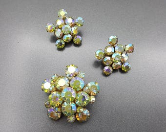 Weiss Star Burst Aurora Borealis  brooch and clip earrings Art Deco MCM