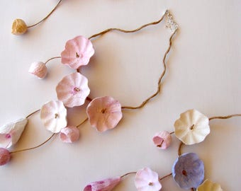 Pastel Colors, Statement Necklace,  Paper Necklace, Eco Friendly,  Paper Jewelry, Cascade Necklace,  Hippie fashion, Anniversary Gift.