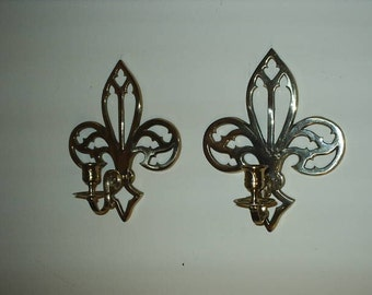 2 Solid Brass Gold  Fleur De Lis Wall Hanging Candle Scones.
