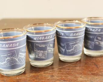 Set of 4 Niagara Falls Souvenir Shot Glasses  - Canada, Canadian