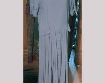 Blue Gray Peplum Dress Vintage long Forties style