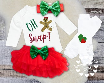 Baby Girl Christmas Outfit, Oh Snap! Gingerbread man, 1st Christmas, Baby First Christmas, Girl Christmas Opt Set, Baby Christmas Bodysuit