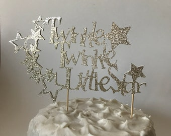 "Gold Glitter ""Twinkle Twinkle Little Star"" Large Cake Topper - Birthday Party Shower Decorations Decor - Nursery Rhyme Party"