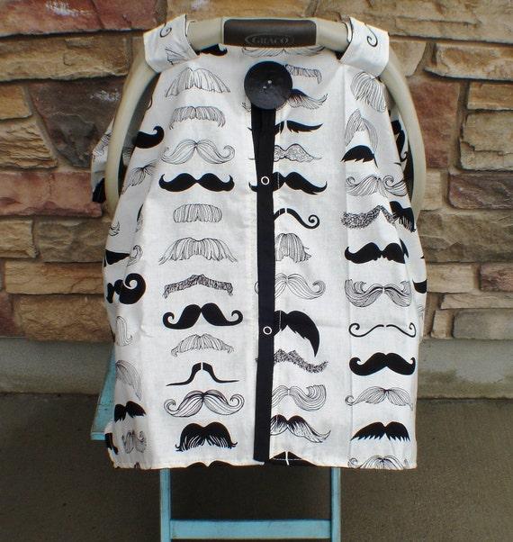 Mustache Car seat canopy / car seat cover / nursing cover / carseat canopy / carseat cover
