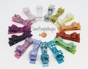 Glitter Clips.  Tiny Bows.  Sparkle Hair Bow. Gold Glitter. Pink Barrette. Purple Clip. Orange. Green. Silver Toddler Clips. Trendy. HC1272