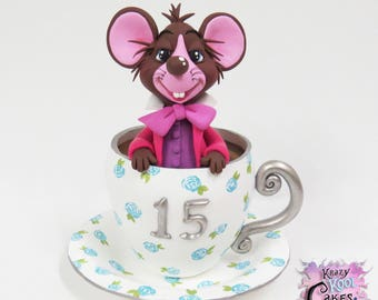 Dormouse In Teacup - Alice In Wonderland Cake Topper -  HANDMADE Polymer Clay
