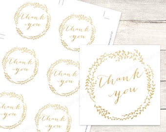 gold bridal shower favor tags printable DIY wedding shower favour tags white gold glitter wreath thank you cards - INSTANT DOWNLOAD