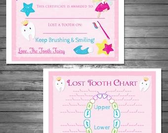 Kids tooth fairy certificate tooth fairy printable tooth fairy certificate and lost tooth chart digital file instant download bonus spiritdancerdesigns Images