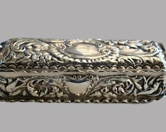 Ornate 1897 Birmingham Silver Trinket Box