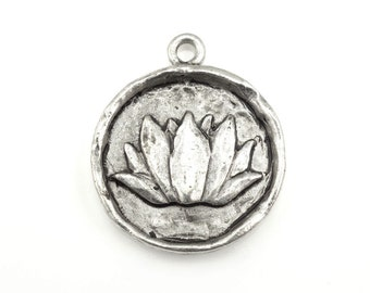 Silver Lotus Pendant Silver Lotus Flower 20mm Antique Silver Charm Yoga Charm for Mindfulness Jewelry Silver Pendant Organic Meditation Zen