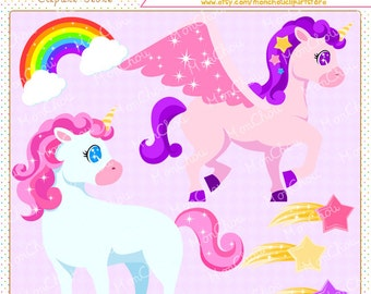 Unicorn Clipart Set - For Commercial and Personal Use Cliparts