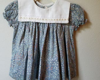 Vintage Girls Blue floral dress with White Pique Collar by C.I. Castro- Size 12 Months-  New, never worn