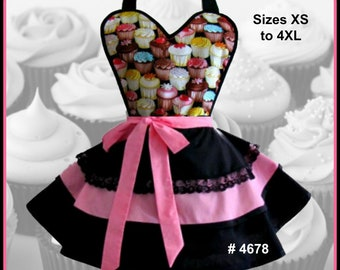 Apron # 4678 - Cupcakes apron with pink and black layered bottom