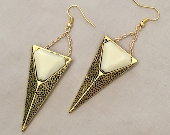 Ivory Spike - Gold and Cream Earrings - Textured Antique Gold - Geometric Jewlery - Statement Earrings - Handmade