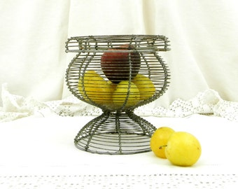 Antique French Country Kitchen Metal Wireware Basket, Woven Wire Fruit Bowl, Rustic Cottage Farmhouse Decor from France, Parisian Brocante