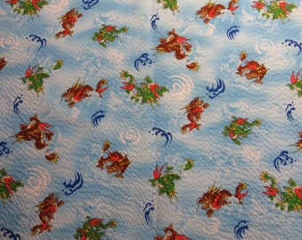Japanese Textured Cotton Fabric - Dragons on Blue